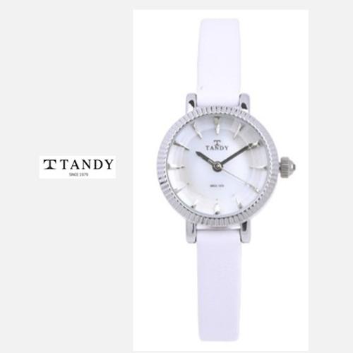 TANDY 고급 소가죽 시계 T-4012 실버화이트