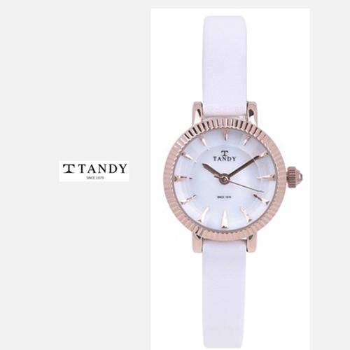 TANDY 고급 소가죽 시계 T-4013 로즈골드화이트