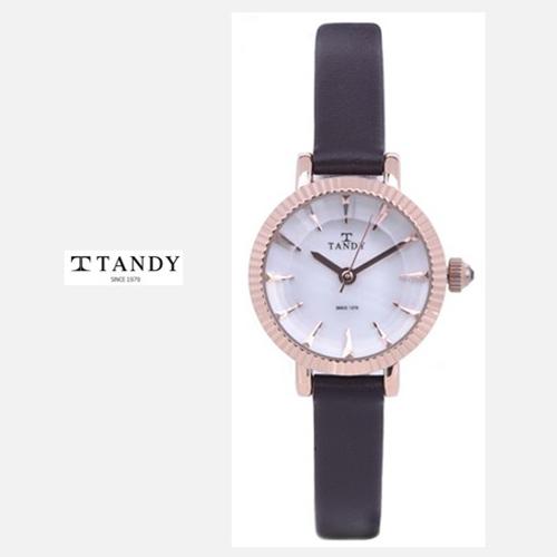 TANDY 고급 소가죽 시계 T-4013 로즈골드다크브라운
