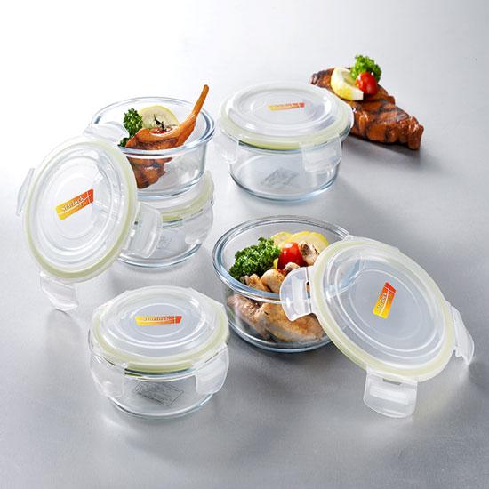 스타락 엣지글라스 내열유리 밀폐용기 원형 5종(400mlx3개, 620mlx2개)