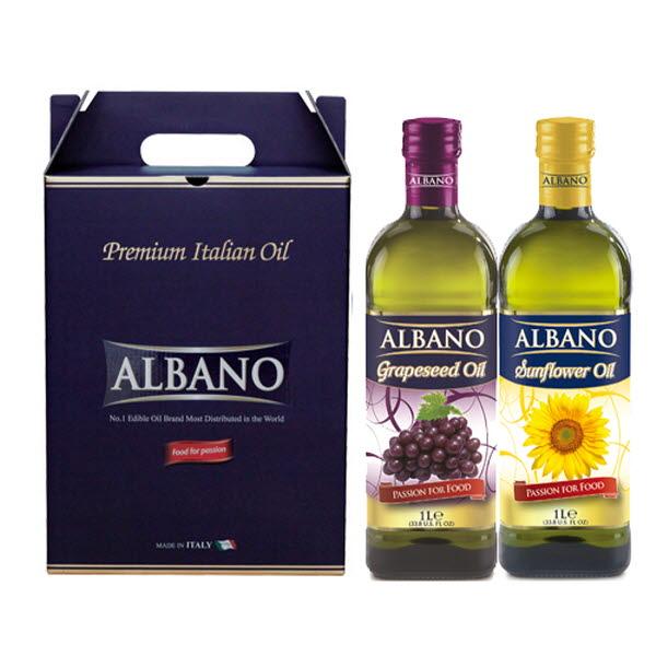 19년설 알바노 이탈리아 선물세트 포도씨유 + 해바라기 500ml 미니 2P