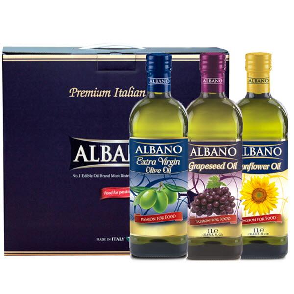 19년설 알바노 이탈리아 선물세트 올리브유 + 포도씨유 + 해바라기 500ml 미니3P